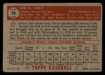 1952 Topps #54 RED Leo Kiely  Back Thumbnail