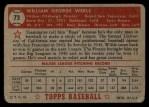 1952 Topps #73  Bill Werle  Back Thumbnail