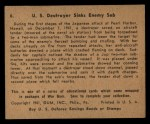 1941 Gum Inc. War Gum #6   U.S. Destroyer Sink Enemy Sub Back Thumbnail