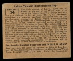 1939 Gum Inc. World In Arms #14 A  Latvian Two-seat Reconnaissance Ship Back Thumbnail