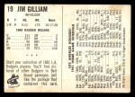 1961 Bell Brand Dodgers #19  Jim Gilliam  Back Thumbnail