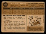 1960 Topps #200  Willie Mays  Back Thumbnail
