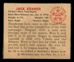 1950 Bowman #199 CPR Jack Kramer  Back Thumbnail