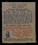 1949 Bowman #205  Dick Sisler  Back Thumbnail