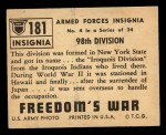 1950 Topps Freedoms War #181   98th Division  Back Thumbnail