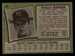 1971 Topps #528  Wally Bunker  Back Thumbnail