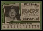 1971 Topps #178  Dave Duncan  Back Thumbnail