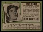 1971 Topps #631  Eddie Fisher  Back Thumbnail