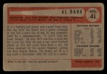 1954 Bowman #41 ALL Al Dark  Back Thumbnail