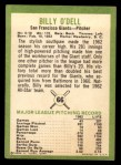 1963 Fleer #66  Billy O'Dell  Back Thumbnail