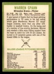 1963 Fleer #45  Warren Spahn  Back Thumbnail
