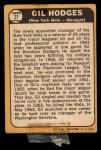 1968 Topps #27 ^COR^ Gil Hodges  Back Thumbnail