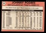 1969 Topps #659  Johnny Podres  Back Thumbnail