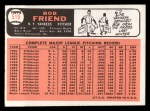 1966 Topps #519  Bob Friend  Back Thumbnail