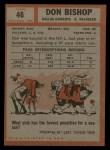 1962 Topps #46  Don Bishop  Back Thumbnail