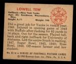 1950 Bowman #83  Lowell Tew  Back Thumbnail