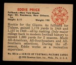 1950 Bowman #105  Eddie Price  Back Thumbnail