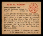1950 Bowman #113  Earl Murray  Back Thumbnail