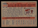 1957 Topps #384  Bobby Gene Smith  Back Thumbnail