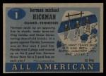 1955 Topps #1  Herman Hickman  Back Thumbnail