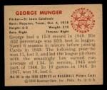 1950 Bowman #89  Red Munger  Back Thumbnail