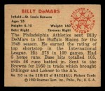 1950 Bowman #252 CPR Billy DeMars  Back Thumbnail