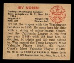 1950 Bowman #247 CPR Irv Noren  Back Thumbnail