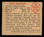 1950 Bowman #244 CPR Dale Coogan  Back Thumbnail
