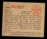 1950 Bowman #190 CPR Ken Wood  Back Thumbnail