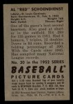 1952 Bowman #30  Red Schoendienst  Back Thumbnail