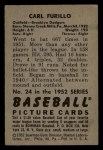 1952 Bowman #24  Carl Furillo  Back Thumbnail