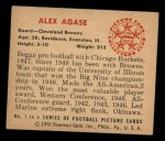 1950 Bowman #7  Alex Agase  Back Thumbnail