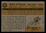 1960 Topps #481  Wes Stock  Back Thumbnail