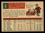 1959 Topps #3  Don McMahon  Back Thumbnail