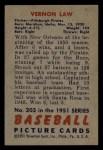 1951 Bowman #203  Vern Law  Back Thumbnail