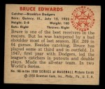 1950 Bowman #165  Bruce Edwards  Back Thumbnail