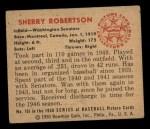 1950 Bowman #161  Sherry Robertson  Back Thumbnail