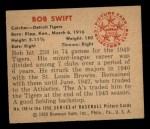 1950 Bowman #149  Bob Swift  Back Thumbnail