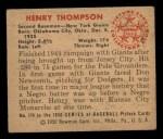1950 Bowman #174  Hank Thompson  Back Thumbnail