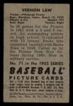1952 Bowman #71  Vern Law  Back Thumbnail