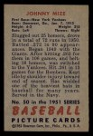 1951 Bowman #50  Johnny Mize  Back Thumbnail
