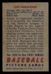 1951 Bowman #233  Leo Durocher  Back Thumbnail