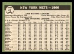 1967 Topps #42   Mets Team Back Thumbnail