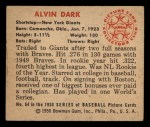 1950 Bowman #64  Al Dark  Back Thumbnail