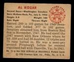 1950 Bowman #15  Al Kozar  Back Thumbnail
