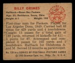 1950 Bowman #120  Billy Grimes  Back Thumbnail
