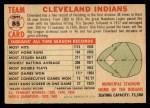 1956 Topps #85 LFT  Indians Team Back Thumbnail