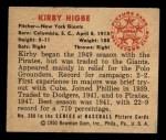 1950 Bowman #200  Kirby Higbe  Back Thumbnail