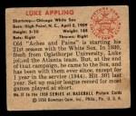 1950 Bowman #37  Luke Appling  Back Thumbnail