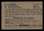 1952 Bowman Small #17  Y.A. Tittle  Back Thumbnail